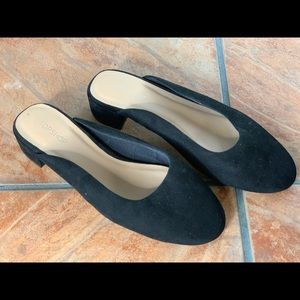 Brand new topshop black suede mules.